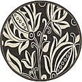 Indoor/ Outdoor Andros Black/ Sand Rug (6'7 Round)