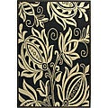 Indoor/ Outdoor Andros Black/ Sand Rug (2'7 x 5')