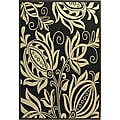 Safavieh Indoor/ Outdoor Andros Black/ Sand Rug (5'3 x 7'7)