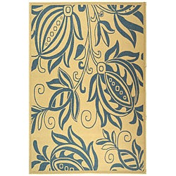 Indoor/ Outdoor Andros Natural/ Blue Rug (9' x 12')