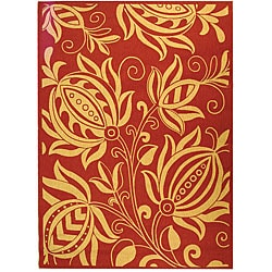 Indoor/ Outdoor Andros Red/ Natural Rug (9' x 12')