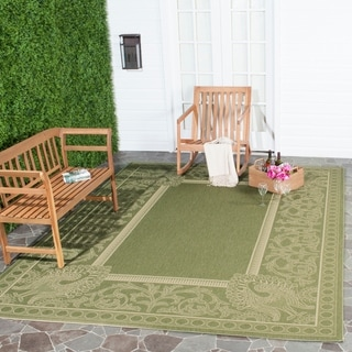Safavieh Indoor/ Outdoor Abaco Olive/ Natural Rug (9' x 12')