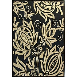 Safavieh Indoor/ Outdoor Andros Black/ Sand Rug (9' x 12')