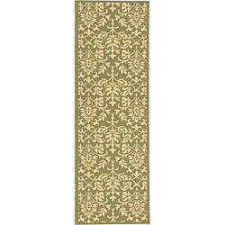 Indoor/ Outdoor Seaview Olive/ Natural Runner (2'4 x 6'7)