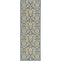 Indoor/ Outdoor Seaview Natural/ Blue Runner (2'4 x 6'7)
