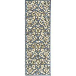Safavieh Indoor/ Outdoor Seaview Natural/ Blue Runner (2'4 x 6'7)