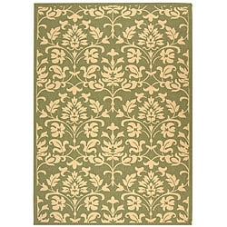Safavieh Indoor/ Outdoor Seaview Olive/ Natural Rug (5'3 x 7'7)