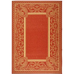 Indoor/ Outdoor Abaco Red/ Natural Rug (9' x 12')