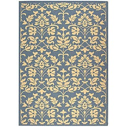 Indoor/ Outdoor Seaview Natural/ Blue Rug (5'3 x 7'7)