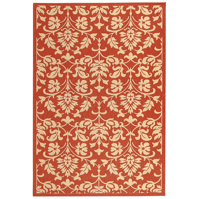 Safavieh Indoor/ Outdoor Seaview Red/ Natural Rug (4' x 5'7)