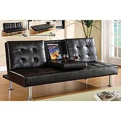 Yorkville Modern Bicast Leather Sofa/ Sofabed with Drop-down Tray