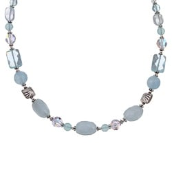 Charming Life Sterling Silver Aquamarine and Chalcedony Necklace