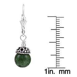Charming Life Sterling Silver Green Jade Earrings