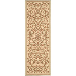 Indoor/ Outdoor Resorts Natural/ Terracotta Runner (2'4 x 9'11)
