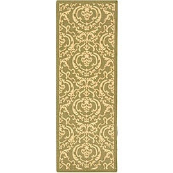 Safavieh Indoor/ Outdoor Bimini Olive/ Natural Runner (2'4 x 9'11)