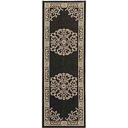 Indoor/ Outdoor Sunny Black/ Sand Runner (2'4 x 9'11)