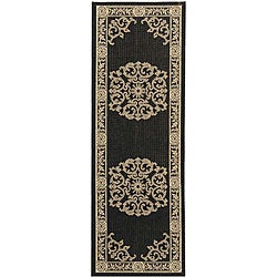 Safavieh Indoor/ Outdoor Sunny Black/ Sand Runner (2'4 x 9'11)
