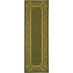 Indoor/ Outdoor Abaco Olive/ Natural Runner (2'4 x 9'11)
