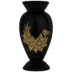Handmade Black Lacquer and Gold Leaf Vase (Thailand)