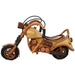 Handcrafted Teak Wood Carving Motorcycle Statue , Handmade in Thailand