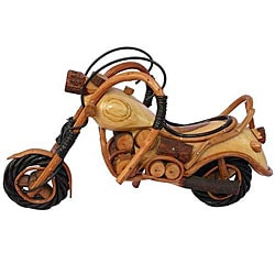 Handcrafted Teak Wood Carving Motorcycle Statue (Thailand)