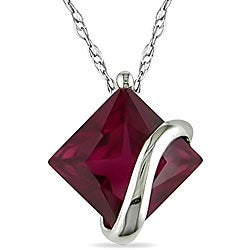 Miadora 10k White Gold Created Ruby Necklace
