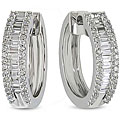 Miadora 10k White Gold 1/2ct TDW Diamond Hoop Earrings (H-I, I2-I3)