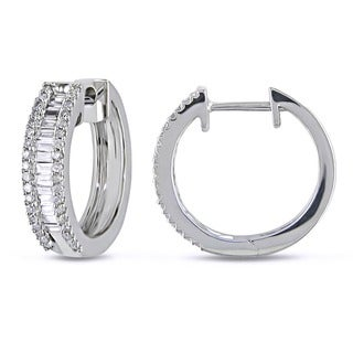 Miadora 10k White Gold 1/2ct TDW Diamond Hoop Earrings (H-I, I2-I3)