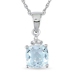 Miadora 10k White Gold Aquamarine and Diamond Necklace