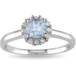 10k Gold Aquamarine and 1/6ct TDW Diamond Ring (H-I, I2-I3)