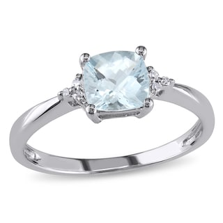 Miadora 10k White Gold Aquamarine and Diamond Ring