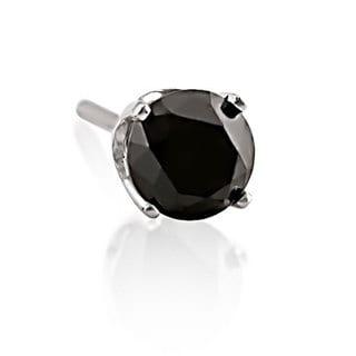 Haylee Jewels 14k White Gold 1/2ct TDW Black Diamond Men's Single Solitaire Earring