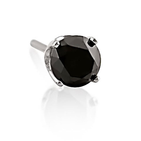 Haylee Jewels 14k White Gold 1/2ct TDW Black Diamond Men's Single Solitaire Earring