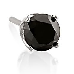 M by Miadora 14k White Gold 1/2ct TDW Black Diamond Men's Single Solitaire Earring