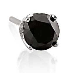 Miadora 14k White Gold 1/2ct TDW Black Diamond Men's Single Solitaire Earring