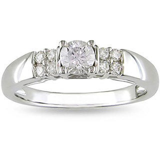 Miadora 14k White Gold 1/2ct TDW Diamond Engagement Ring (H-I, I2-I3)
