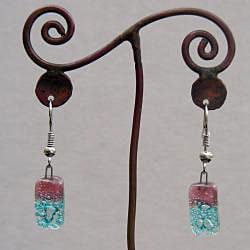 Silver Blue and Pink Glass Drop Earrings (Chile)