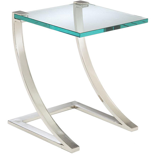Buy Black Glass And Metal Square Coffee Table From Fusion: Nickel Finish Metal And Glass Square End Table