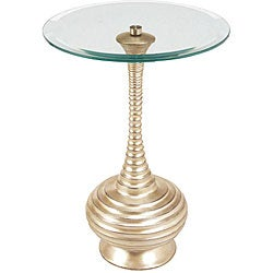 Hand-rubbed Silver Leaf Finish Resin and Glass Accent Table