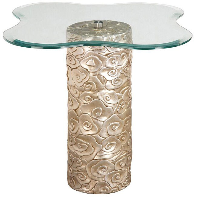 Hand Rubbed Silver Leaf Finish Flower Glass Accent Table