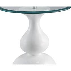 Glossy White Finish Round Fiberglass Accent Table