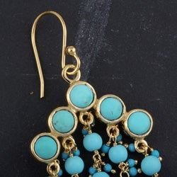 Goldplated Turquoise Raindrop Earrings (India)