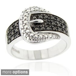 DB Designs Sterling Silver Black Round Diamond Accent Buckle Ring