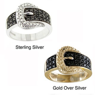 DB Designs Sterling Silver Black Diamond Accent Buckle Ring