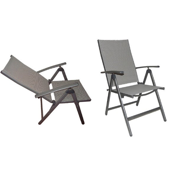 Deluxe reclining high back patio chairs set of 2 for Reclining patio chair