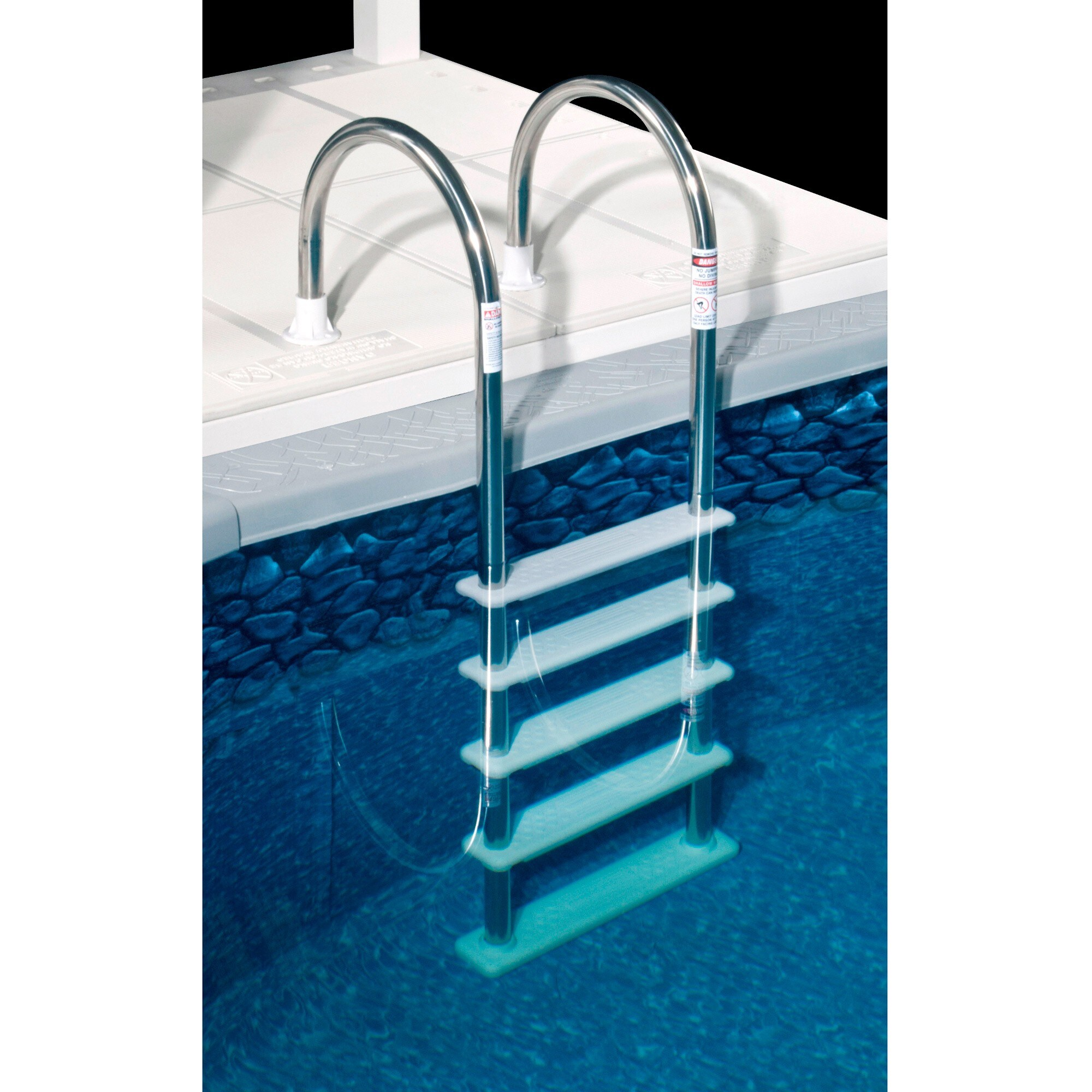 blue wave wedding cake above ground pool step blue wave standard stainless steel in pool - Above Ground Wedding Cake Pool Steps