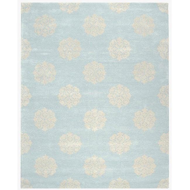 Safavieh Handmade Soho Medallion Light Blue N. Z. Wool Rug (9'6 x 13'6)