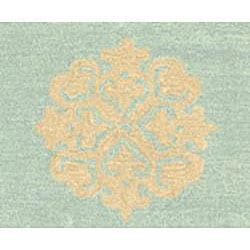 Handmade Soho Medallion Light Blue N. Z. Wool Rug (9'6 x 13'6)