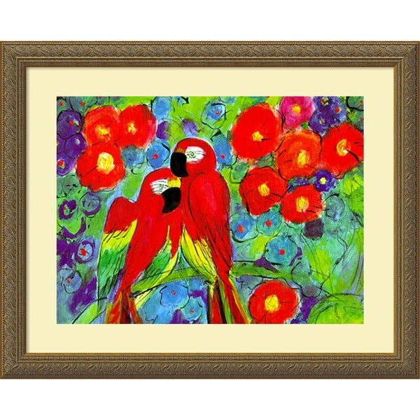 Robin 'Parrots with Flowers' Framed Art Print