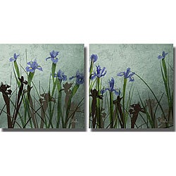 Patricia Pinto 'Blue Iris I & II' 2-piece Unframed Art Set